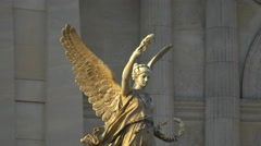 Angel statue near the Czech Philharmonic building in Prague Stock Footage