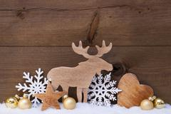 Golden Christmas Decoration, Snow, Moose, Hear, Snowflake Stock Photos