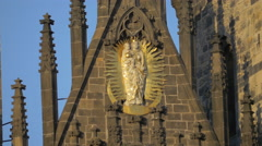 Mural sculpture on Church of Our Lady before Týn, Prague Stock Footage
