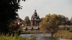 Landmark Wooden Church in Souzdal Russia Stock Footage