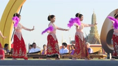 Traditional thai dancers,Bangkok,Thailand Stock Footage