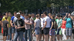Tourists gathered in the city center of Prague Stock Footage