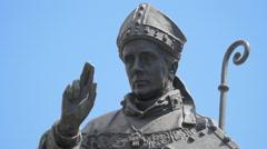 St. Adalbert of Prague statue in Wenceslas Square Stock Footage