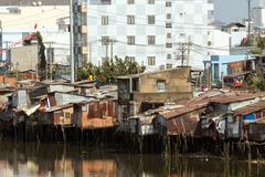 Slum in Saigon - stock photo