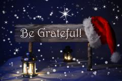 Christmas Sign Candlelight Santa Hat Be Grateful Stock Photos