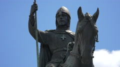 Statue Of St Wenceslas in Prague Stock Footage