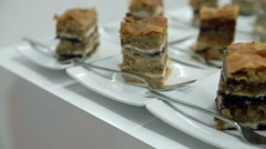 Traditional sweet dish on small plates Stock Footage