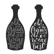 Wine Quote on wine bottle silhoette - stock illustration