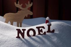 Card With Moose And Snow, Noel Mean Christmas Stock Photos