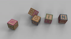 Stock Video Footage of Falling toy bricks make up different words: begin, block, brain, class, oldie