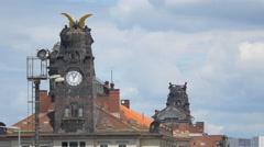 View of the Old Railway Station building's clock tower in Prague Stock Footage