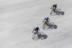 Thessaloniki, Greece, September 29 2015. Cyclists compete in the central stre Stock Photos