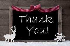 Gray Christmas Card, Snow, Loop, Thank You - stock photo