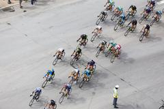 Thessaloniki, Greece, September 29 2015. Cyclists compete in the central stre - stock photo