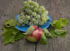 still life a plate with grapes and one apple in the center, is decorated with - stock photo