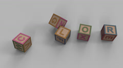 Stock Video Footage of Falling toy bricks make up different words: color, learn, study, words
