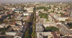 Flying above Odessa city - town on the Black sea Stock Footage