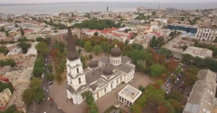 Flying above Odessa city - town on the Black sea - stock footage