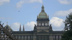 View of National Museum in the southeast end of Wenceslas Square, Prague Stock Footage