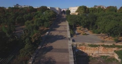 Duke de Richelieu monument and the legendary Potemkin Stairs in Odessa (Aerial) Stock Footage