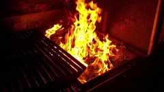 Big yellow flame, at a barbeque, in a restaurant Stock Footage