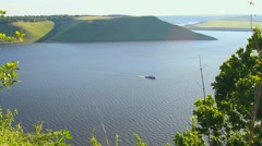Pleasure boat on the river Stock Footage