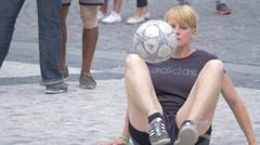 Stock Video Footage of Football Acrobatics in Wenceslas Square (Václavské náměstí), Prague