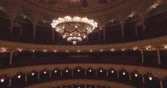 Flying inside the Opera house. Turning on  illumination - stock footage