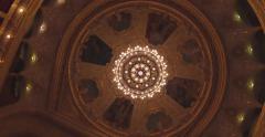 Flying inside the Opera house. Turning on the illumination Stock Footage