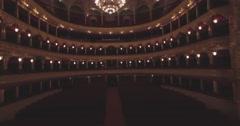 Flying inside the Opera house. Turning on  illumination Stock Footage