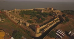 Amazing aerial picture of the historical fortress near river estuary Stock Footage