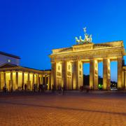 Brandenburg Gate at Night, Berlin, Germany Stock Photos