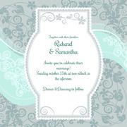 Wedding invitation on the pistacio colored floral background Stock Illustration