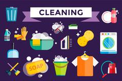 Stock Illustration of Cleaning icons vector set clean service