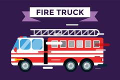 Fire truck car isolated vector cartoon silhouette - stock illustration