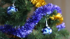 Christmas decoration blue and yellow balls Stock Footage