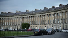 Bath: Royal Crescent - largest Georgian terrace, England, Europe Stock Footage