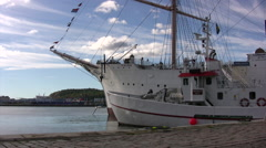 Boats in harbor in central Gothenburg Stock Footage