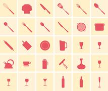 Cooking icon set - stock illustration