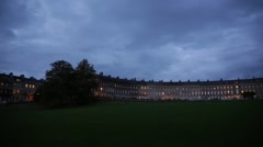 Bath: Royal Crescent at night (long terrace) pan, England, Europe Stock Footage