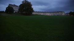 Bath: Royal Crescent at night (long terrace), England, Europe Stock Footage