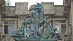 Statues at Palác Adria in Prague Stock Footage
