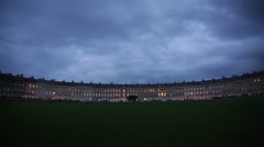Royal Crescent, Bath Spa, English terrace houses in the night Stock Footage
