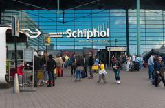 Amsterdam schiphol airport entrance Stock Photos