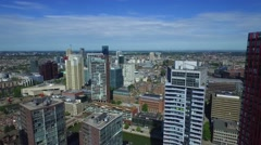 Aerials Rotterdam skyscrapers cityscape slow fly-by in centre Stock Footage