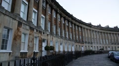 Royal Crescent, Bath Spa, English traditional city house Stock Footage