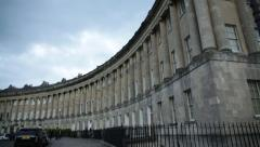 Royal Crescent, Bath Spa, English traditional city houses (tilt) Stock Footage