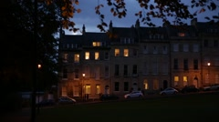 English houses at night in the City of Bath, England, Europe Stock Footage