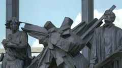 Sculptures at the New National Museum building in Prague Stock Footage