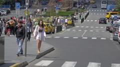 Driving and walking in Wenceslas Square (Václavské náměstí), Prague Stock Footage